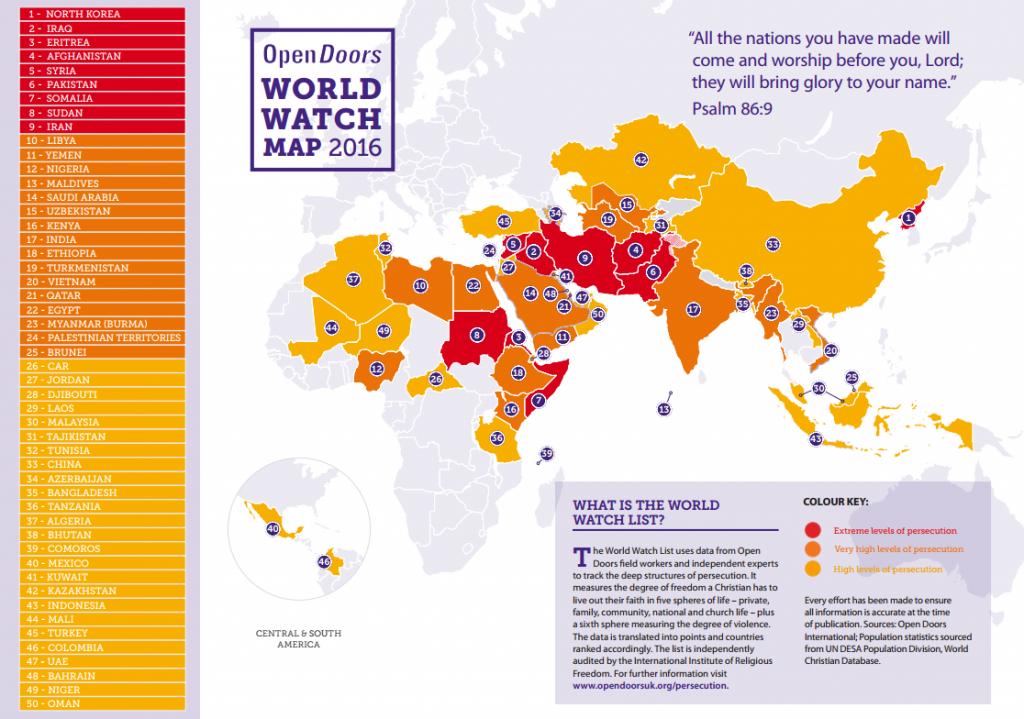 Мапа на светскиот прогон против Христијаните. Севрна Кореја најопасна