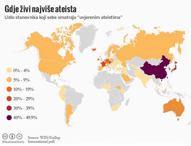 Во овие шест држави живеат најмногу атеисти