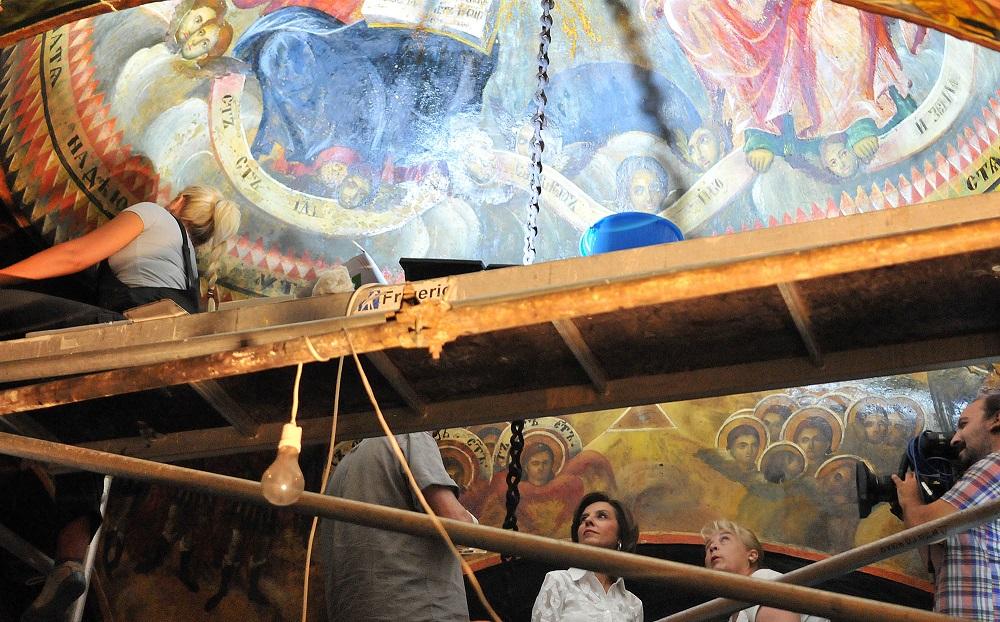 """Привршува конзервацијата и ревитализацијата на фрескоживописот во црквата """"Св. Ѓорѓи"""" во Струга"""