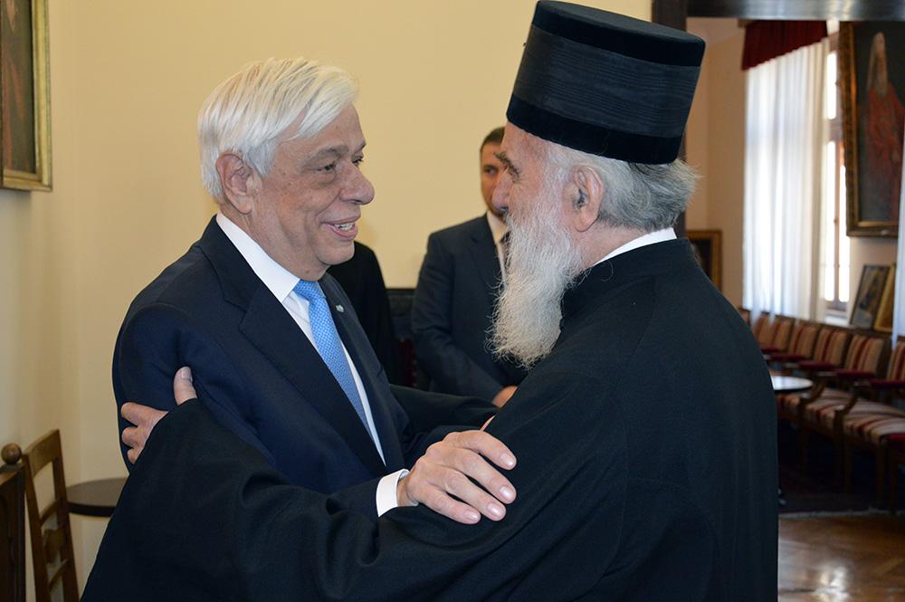 Средба на грчкиот Претседател со српскиот Патријарх
