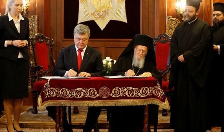 Порошенко и патријархот Вартоломеј го потпишаа договорот за формирање на Украинска црква!